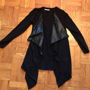 Zara knit leather front cardigan